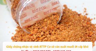 Giấy chứng nhận vệ sinh an toàn thực phẩm Cơ sở sản xuất muối ớt sấy khô